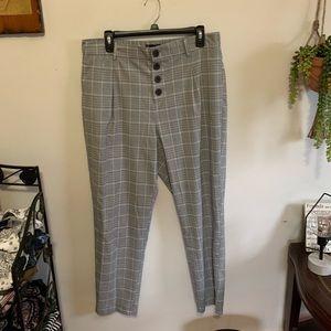 Zara Plaid Button-Up Trousers